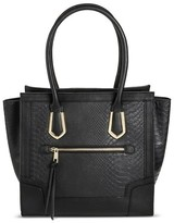 Mossimo Women's Tote Faux Leather Handbag with Snakeskin Design and Zip Closure Black