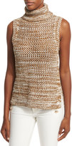 Derek Lam 10 Crosby Sleeveless Crochet Turtleneck Top, Tobacco/White