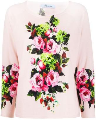 Blumarine Fine Knit Floral Print Top
