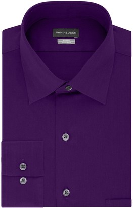 Van Heusen Mens Fitted Lux Sateen Stretch Spread-Collar Dress Shirt