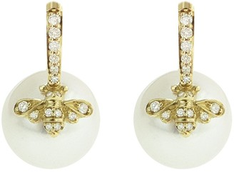 Sydney Evan Freshwater Pearl and Diamond Bee Yellow Gold Drop Earrings