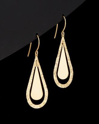 Italian Gold 14K Polished & Hammered Teardrop Earrings