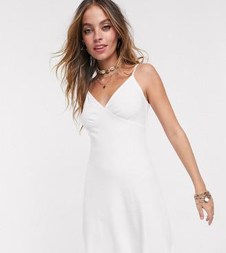 ASOS DESIGN Petite ribbed cami mini sundress in white