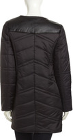 French Connection Chevron-Quilted Faux-Leather-Trim Puffer Jacket, Black