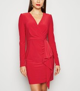 New Look Long Sleeve Ruffle Wrap Dress