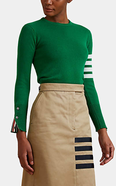 Thom Browne Women's Block-Striped Fine-Gauge Knit Cashmere Sweater - Green