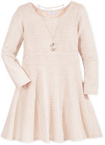 Sweet Heart Rose Metallic Zig-Zag Dress & Necklace Set, Little Girls (2-6X)