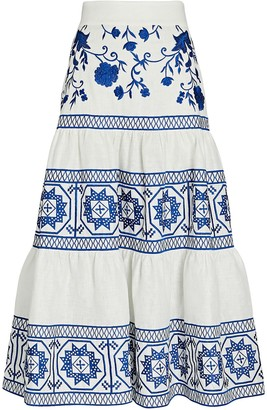 Alexis Deena Embroidered Tiered Midi Skirt