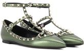Valentino Garavani Rockstud Metallic Leather Ballerinas
