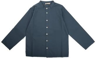 Babe & Tess Korean Collar Shirt Color Avio Blue