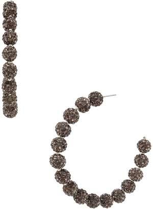 Miriam Haskell Silvertone Acrylic Caviar Beaded Hoop Earrings