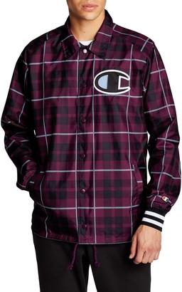 Champion Plaid Print Satin Coaches Jacket
