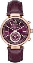 Michael Kors Women's Chronograph Sawyer Plum Leather Strap Watch 39mm MK2580