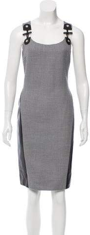 Versace Houndstooth Leather Dress
