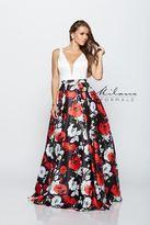 Milano Formals - Sleeveless Deep V-neck Floral Printed Long A-line Dress E2160