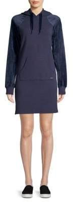Andrew Marc Velvet-Sleeve Hooded Sweatshirt Dress
