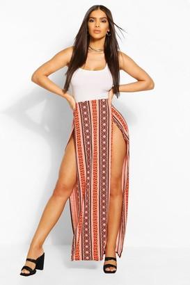 boohoo Bohemian Stripe Front Maxi Skirt