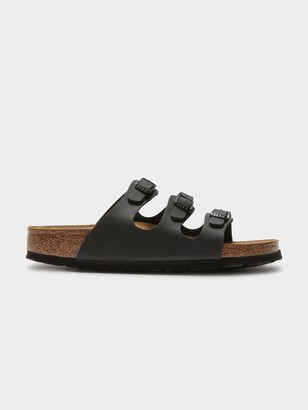 Birkenstock Womens Florida Soft Footbed Sandals in Black Birko-Flor