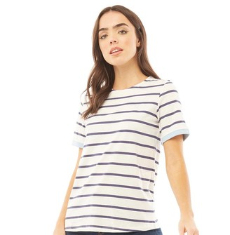 Crew Clothing Womens Contrast Cuff Stripe T-Shirt Navy/White
