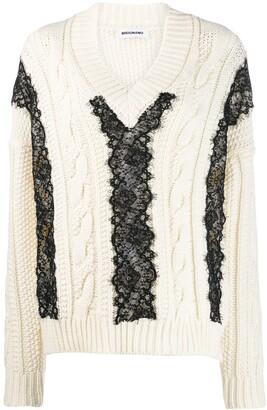 Brognano Lace-Trim Knit Sweater