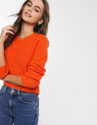 Brave Soul wilfred cropped fisherman rib jumper in orange
