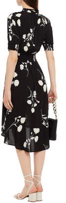 BA&SH Poppy Shirred Printed Crepe Midi Dress