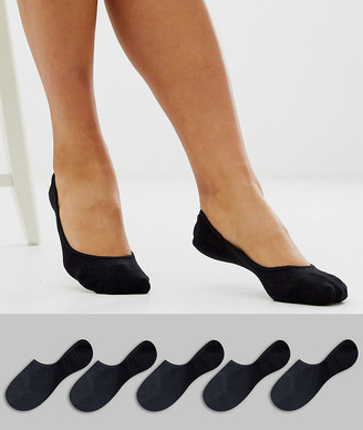 ASOS DESIGN 5 pack invisible socks with back grip band detail in black