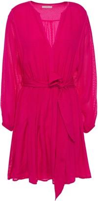 Joie Favia Gathered Fil Coupe Silk-blend Chiffon Mini Dress