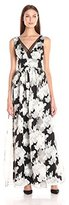 Vera Wang Women's Floral Printed Organza Long