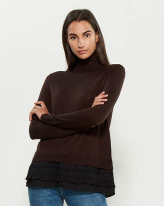 P.A.R.O.S.H. Turtleneck Long Sleeve Ruffle Layer Sweater