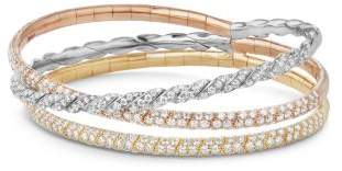 David Yurman Paveflex Three Row Bracelet With Diamonds In 18K Gold