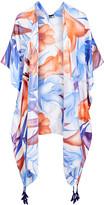 Lvs Collections LVS Collections Women's Kimono Cardigans C - Blue & Orange Floral Tassel-Accent Cape-Sleeve Kimono - Women