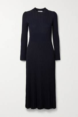 Max Mara Nausica Ribbed-knit Midi Dress - Midnight blue