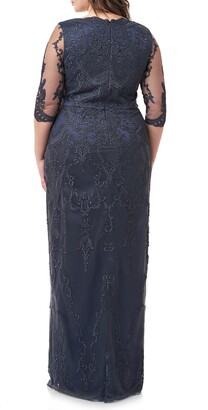 JS Collections Scallop V-Neck Embroidered Mesh Gown