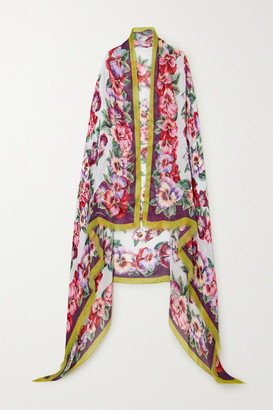 Dolce & Gabbana Frayed Floral-print Modal And Cashmere-blend Scarf - Purple