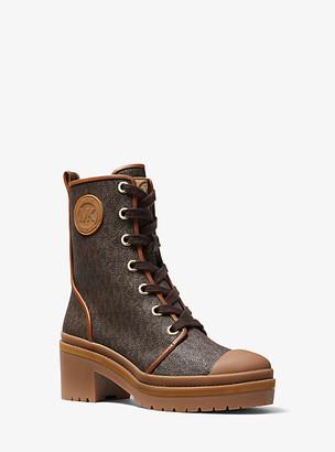 MICHAEL Michael Kors MK Corey Logo Combat Boot - Brown - Michael Kors