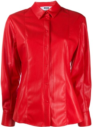 MSGM Panelled Faux-Leather Shirt