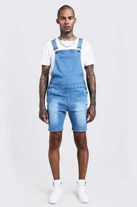 boohoo Slim Fit Denim Overall Shorts
