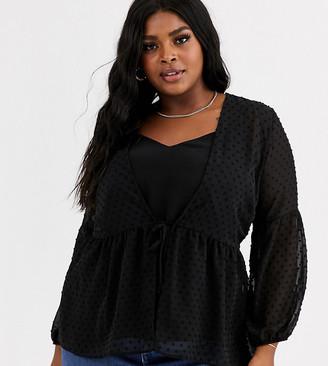 New Look Plus Curve spot detail peplum blouse in black