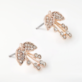 John Lewis Glass Crystal Flower Stud Earrings, Rose Gold