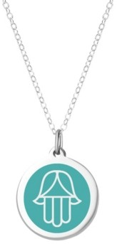 "Auburn Jewelry Hamsa Pendant Necklace in Sterling Silver and Enamel, 16"" + 2"" Extender"