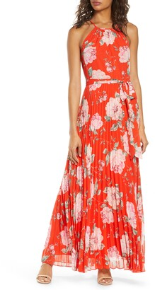 Eliza J Floral Halter Neck Pleated Maxi Dress