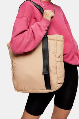 Topshop Camel Padded Nylon Shopper Bag