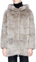 Yves Salomon Melton back Rex rabbit fur hooded coat