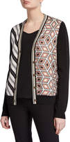 Tory Burch Mix Print Silk Front V-Neck Button-Front Cardigan