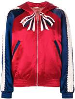Gucci colour block hooded bomber jacket with Tiger print