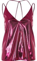 River Island Womens Metallic pink cami top