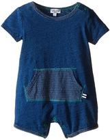 Splendid Littles Indigo Short Sleeve Romper with Striped Kangaroo Pocket (Infant)