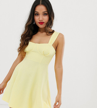 Asos DESIGN Petite cupped seamed flared mini dress-Yellow