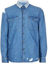 Topman Blue Extreme Ripped Denim Shirt